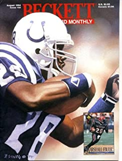 Beckett Football Card Monthly August 1994 Marshall Faulk/Indianapolis Colts on Cover, Tim Brown/Oakland Raiders (on back cover), Jack Kemp/Buffalo Bills, Glyn Milburn/Stanford/Denver Broncos