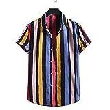 Camisetas Manga Corta Hombre Baratas, Camiseta de Manga Corta con Botones Estampados a Rayas de algodón y Lino para Hombre