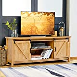 "Tangkula Wood TV Stand for 65"" Television, TV Ark with Sliding Barn Doors, Wooden TV Cabinet with 2 Center Compartments and 2 Cabinets, Barn Door TV Stand, Natural Design (Golden Oak)"