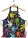 EKOBLA Leaves Aprons Marijuana Weed Leaf Colorful Cannabis Colorful Beautiful Waterproof Resistant Chef Cooking Kitchen BBQ Adjustable Aprons for Women Men 27x31 Inch