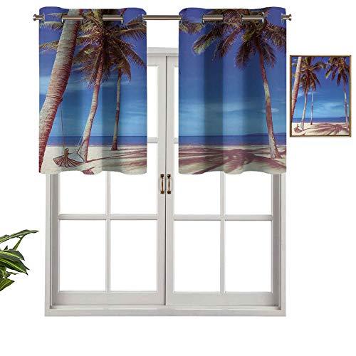 Hiiiman Cortinas opacas con ojales, imagen de una hamaca en la playa tropical de verano por The Ocean con Palms Surreal, juego de 1, 132 x 45 cm para decoración del salón o el dormitorio