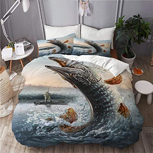 KIMDFACE Malen Angeln Mann und Boot Angeln Big Fish and Waves,Mikrofaser Bettwäsche 135x200cm,Reißverschluss Bettbezug 2 Kissenbezug 50x80cm