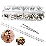 Nuosen 2000 Stücke Rückseite Strasssteine nail art, (6 Größen) Runde Flache Edelsteine mit Pickup-Pinzette und Strassstiften Picking Pen