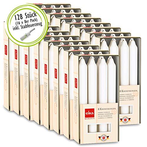 DecoLite 128 Eika Tafelkerzen mit Langer Brenndauer von ca. 6 Stunden | 16 x 8er Pack Kronenkerze/Haushaltskerzen Großpackung inkl. Kerzenprofi Stabfeuerzeug (Weiß)