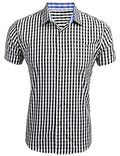 COOFANDY Karierte Hemd Karohemd Herren Trachtenhemd gebürstet Baumwollehemden Freizeit Business Party