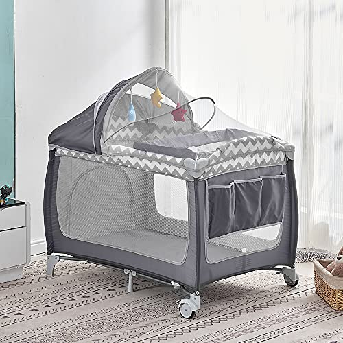 2 in 1 Baby Travel Cot with Mattress 114 x 77cm, Foldable Baby Crib and Playpen (Birth to 3Y), Portable Infant Nursery Center Playard with Changing Table, Mosquito Net, Wheels, Carry Bag, Grey-White
