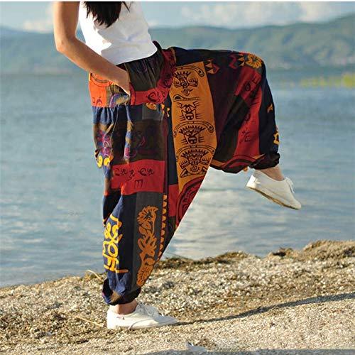 Women's Baggy Harembroek Women Oorzakelijk Yoga Broek Joggers Broek Losse Broeken Aladdin Lantern Wijde Pijpen Katoen Linnen Pants,a,one size