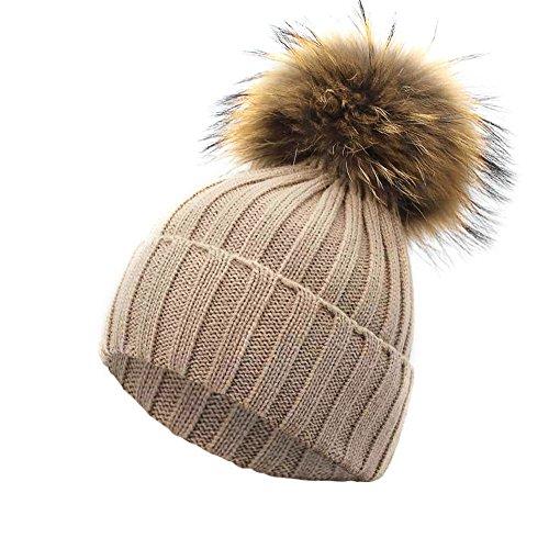 TEBAISE Frauen Mädchen Strickmütze Echt Pom Pom Beanie Hüte Winter Unisex Hüte Hut Mützen Sturmhauben Strickmützen Baseball Caps