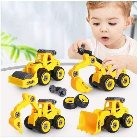 Sky Tech® Pull Back Construction Vehicles Set of 4 100% (2021 Model) Construction Trucks with 1 Screwdriver Tools, Ki...