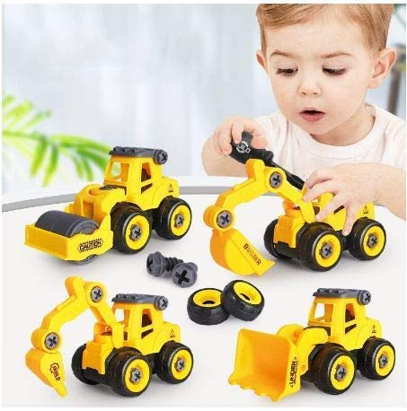 TEC TAVAKKAL Pull Back Construction Vehicles Set, 4 Pack DIY Take Apart Toys Construction Trucks with 1 Screwdriver Tools, Kids Building Cars Birthday for Boys Toddlers 1 to 10 Year Old (B08QSJ2Y3P)