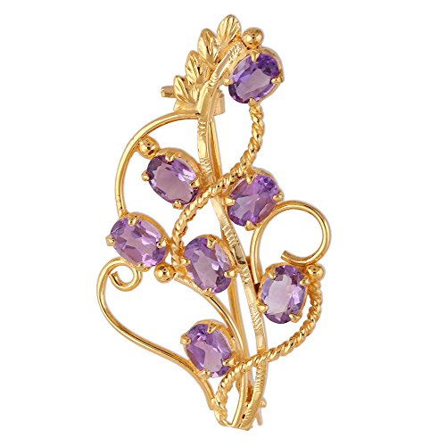 NOVICA Amethyst 22k Gold Vermeil .925 Sterling Silver Brooch 'Golden Lilac'