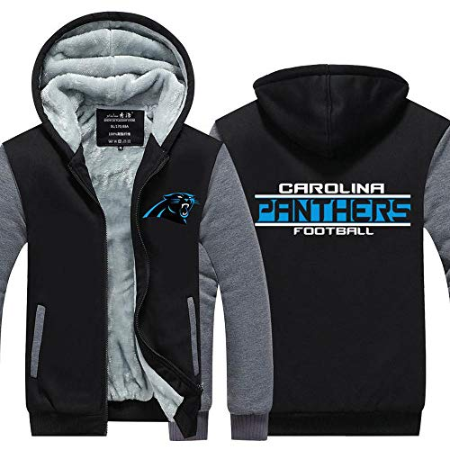 Männer Kapuzen Langarm Carolina Panthers Football Sport Warm Stitching Langarm Zipjacke Rugby -Unisexe Zip Black-M