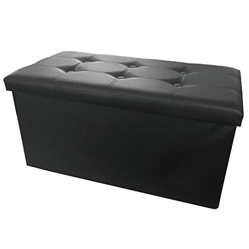 スロット管理エスカレート収納スツール ワイド 足置き オットマン 椅子 合皮 レザー 長方形 ブラック