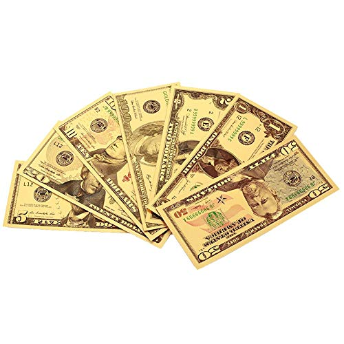 CHENTAOCS New USD 1 2 5 10 20 50 100 Dollar Bill Gift 24K American Gold Foil Banknote Replica Fake Banknotes Album Money Home Decoration G Easy to use (Color : A)