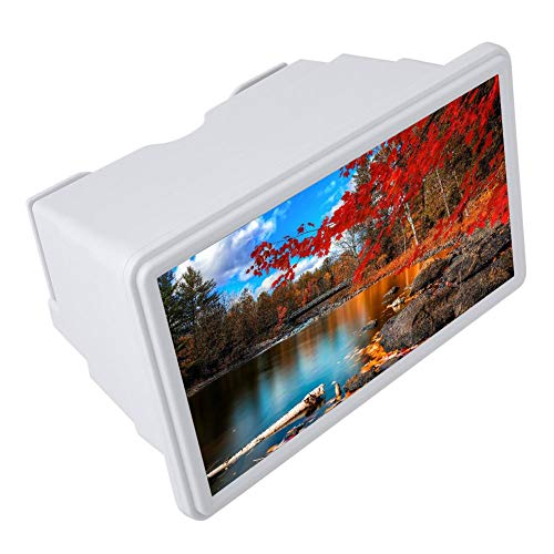 Lupa de Pantalla de 12'Amplificador de Pantalla de teléfono móvil HD de plástico 3D Amplificador de Pantalla de Aumento 3 Veces Compatible con Todos los teléfonos Inteligentes(White)