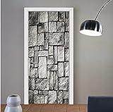 Pegatinas de puerta de piedra gris de imitación 3D a prueba de agua calcomanía autoadhesiva para decoración de puerta de acero de madera dormitorio decoración del hogar murales