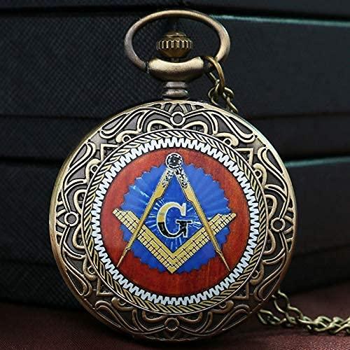 CHFQ Mode Mystical Freimaurer Freimaurer Freimaurer Thema Bronze Taschenuhr mit Kettenhalskette, Taschenuhren für Männer