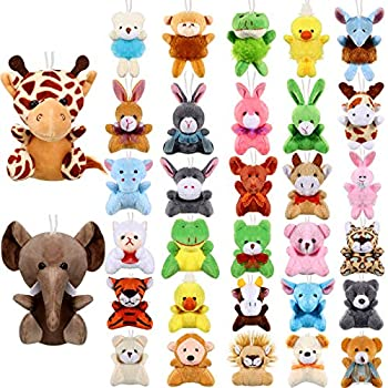 32 Pieces Mini Plush Animal Toys Safari Stuffed Toys Animals Cute Plush Keychain Animals Decoration for Birthday Teacher Student Award Themed Party Favors  Giraffe Elephant   Giraffe Elephant
