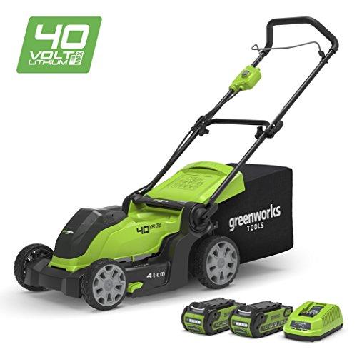 Greenworks Tondeuse à gazon sans fil sur batterie 41cm 40V Lithium-ion avec 2 batteries...