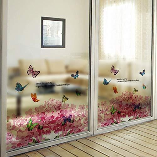 YSHUO raamsticker aanpasbare glazen raamfilm Hydrangea en vlinder Frosted Glass Film kleur zelfklevende raamfolie