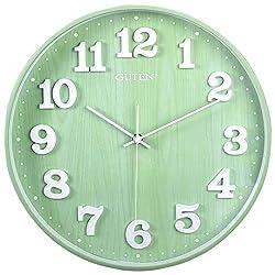 Guten 14 Inch Silent Non Ticking Large Quartz Wall Clock, Battery Operated, Wood Grain, Modern Decorative Green Clock for Living Room Bedroom School Office
