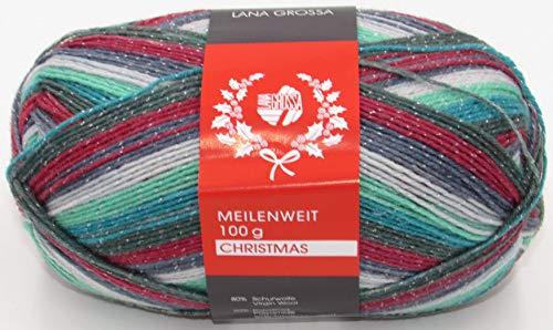 Lana Grossa Meilenweit Sockenwolle Christmas mit Glitzer 4 Fach
