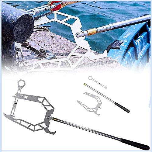 LU1999 Multi-Purpose Dock Hook,Telescopic Boat Hook and Rope for Boat,Easy Long-Distance Threader Boat Puller Tie Rope Hook Too (B)
