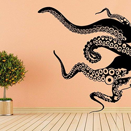 GOUZI Kreative Octopus Sofa Art Deco bis L Schwarze Wand Aufkleber abnehmbare Wall Sticker für Schlafzimmer Wohnzimmer Hintergrund Wand Bad Studie Friseur.