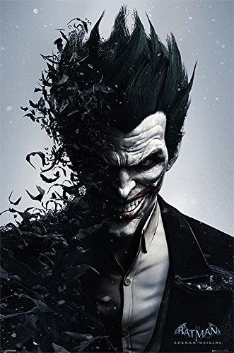 1x Batman Arkham Origins, póster de tamaño grande del Joker. Hecho en el Reino Unido. Tamaño: 61cm x 91,5cm. Se enrolla dentro de un tubo de cartón. Producto oficial de DC Comics.