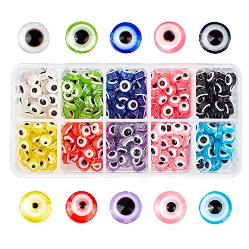 NBeads, 300 perline in resina con occhio malvagio, 10 mm, rotonde piatte per la creazione di gioielli fai da te, 10 colori