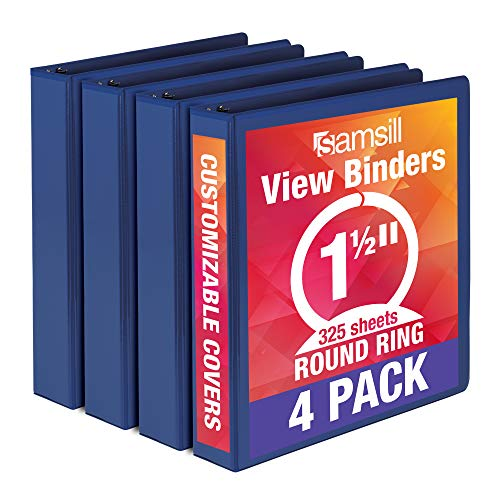 Samsill Economy 3 Ring Binder Organizer, 1.5 Inch Round Ring Binder, Customizable Clear View Cover, Blue Bulk Binder 4 Pack (MP48552)