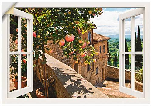 Artland Wandbild selbstklebend Vinylfolie 100x70 cm Wanddeko Wandtattoo Fensterblick Fenster Toskana Landschaft Garten Rosen Balkon T5QC