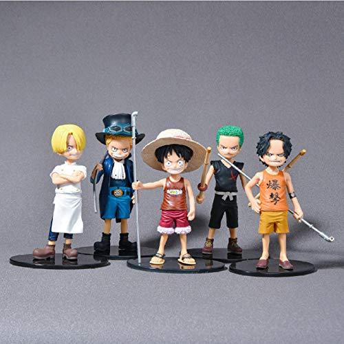 Modelo De Anime5 Unids/Set Anime One Piece Figura Monkey D Luffy Figura Zoro Sanji Law Trafalgar Sabo One Piece Anime PVC Modelo Juguetes 13Cm