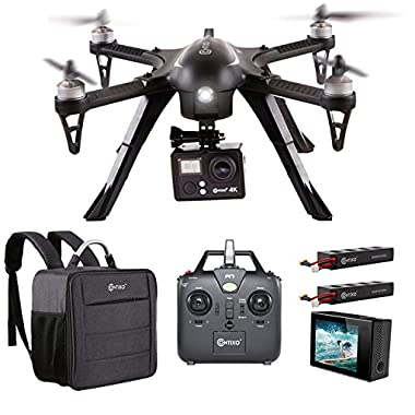 Contixo F17+ RC Quadcopter Photography Drone 4K Ultra HD Camera 16MP, 2 High Capacity Batteries, Supports GoPro Hero Cameras, Water Resistant Back Bag