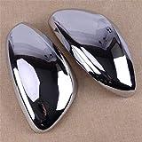 YCGLX 1 Paire Noir Extérieur Voiture Cache Rétroviseur pour Peugeot 2008 208 2013-2017, Car Gauche Droit Miroir Couvercle Boîtier 2Pcs Protection Pluie ABS Plastique