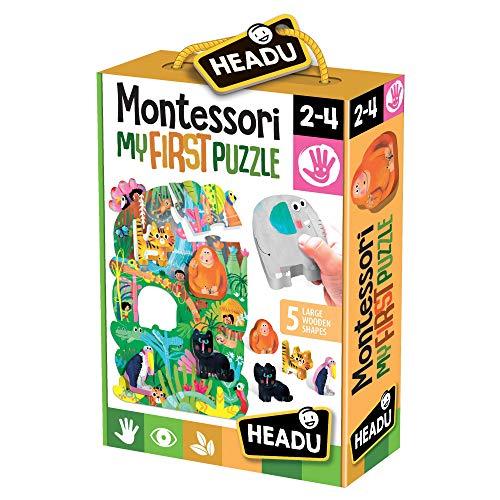 Headu- Montessori First Puzzle The Jungle, Multicolore, IT22380
