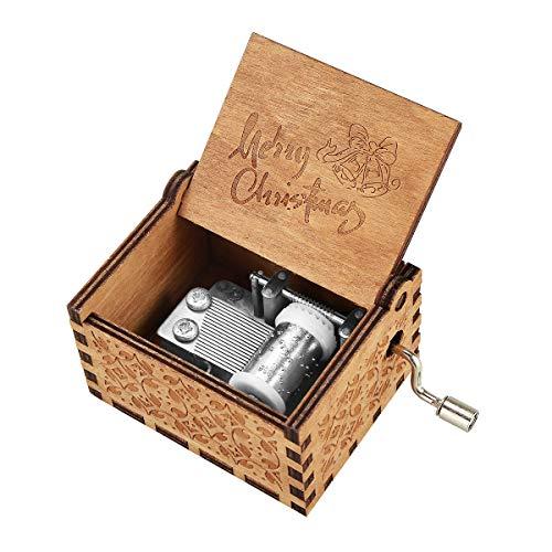 BOENFU Music Box Carillon in Legno a manovella Antica intagliata Classica Scatola Decorativa Regalo per Bambini Amici Famiglia Giocattolo Musicale Decorazione della casa (Merry Christmas)