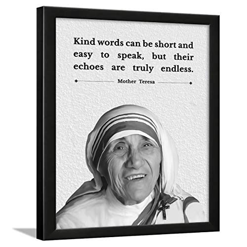 Chaka Chaundh - Motivational Quotes Frames - Framed Posters with Frame – Mother Teresa Quotes Photo Frames for Office, Student and Study Room - Photos with Quotes - (34cm x 27cm x 4cm) (Aqua) (White)