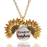 Collar Colgante de medallón de Girasol Eres mi Sol Colgante Collar Grabado para Mujeres n...