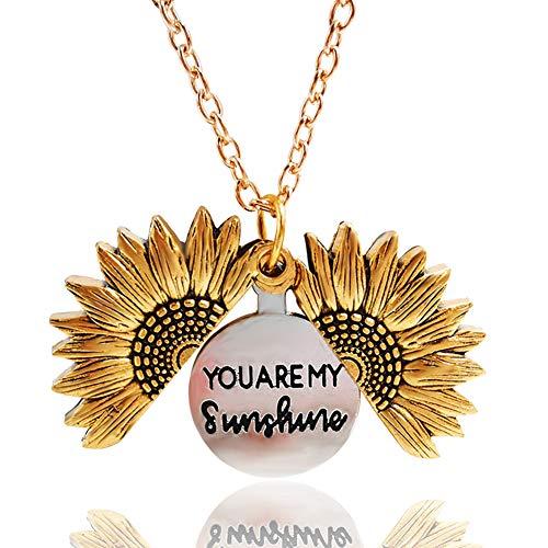 Collar Colgante de medallón de Girasol Eres mi Sol Colgante Collar Grabado para Mujeres niñas con Bonita Caja de Regalo