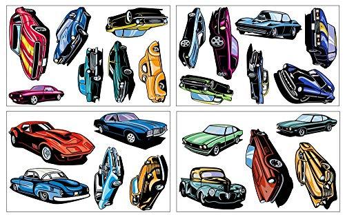 Samunshi® 24 Muscle Car Set Wandtattoo Mehrfarbig Auto US Car in 3 Größen (4x16x26cm Mehrfarbig)