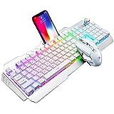 Hoopond Juego de Teclado y Mouse inalámbricos para Juegos, 4800 mAh, 16 Tipos de Teclado para Juegos con retroiluminación LED RGB con Perilla Contorl, 2400 PPP, 7 Colores Mouse con luz de respiración