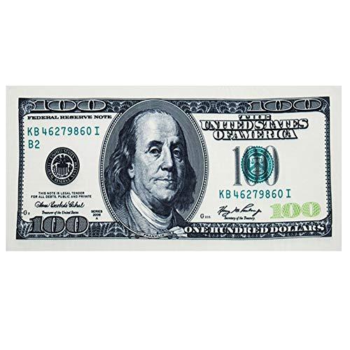 SZ-Yue Strandtuch, 100 Dollar Geldschein-Druck, schnell trocknende Decke, großes, weiches Strandtuch, Baumwolle, dunkelgrün, 140cm x 70cm