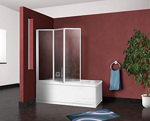 Box parete vasca doccia sopravasca cm.133/134,pannello pieghevole 3 ante