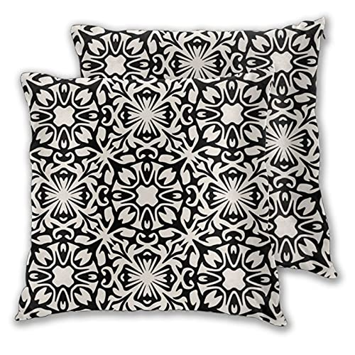 Juego de 2 fundas de almohada decorativas con diseño de azulejos españoles en color negro y marfil en dos lados para sofá, cama, sala de estar, 45,7 x 45,7 cm