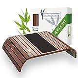 Green'n'Modern braunes Sofatablett rutschfest - Holz Bambus Getränkehalter Armlehne mit Pad | Couch Tablett flexibel | Sofa Tablett Armlehne mit Antirutschpad als Sofa Ablage | Couch Getränkehalter