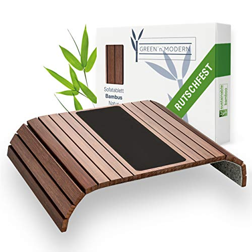 Green'n'Modern Vassoio per divano, antiscivolo, in legno di bambù, con cuscino, per divano, con tappetino antiscivolo, per il divano, con tappetino antiscivolo per il divano, portabicchieri