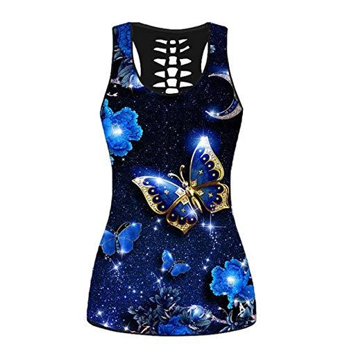 Chaleco de mujer estampado, camiseta sin mangas con estampado de mariposas para mujer, chaleco acampanado, talla grande, túnica, camiseta corta para mujer, color azul