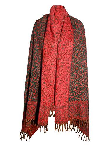 Schal / Decke, handgefertigt, reine Yak-Wolle, doppelseitig, weich, warm, gemütlich, Grün / Orange