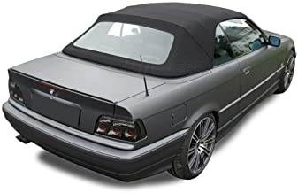 Fits: BMW E36 3 series convertible top with plastic window Black Stayfast Cloth 1994-1999 (Black)